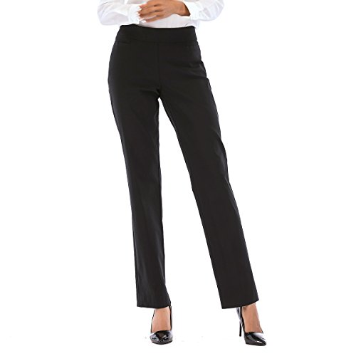 Tracy Evans Womens Ease Into Comfort Pull-On Slim Fit Stretchy Trouser Pant with Welt Pockets and Tummy Control