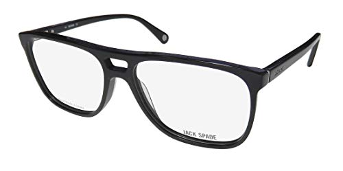 Jack Spade Fulton Mens/Womens Aviator Full-rim Spring Hinges Classic Simple & Elegant Eyeglasses/Glasses (57-16-140, Black) (Aviator Brille Rx)
