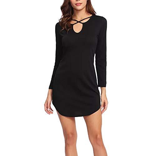 Kinlene Vestido Mujer Verano,Casual Sólido para Mujer Manga Larga Corto Mini Vestido Chaleco Verano Playa Tops Largos Camiseta Negro