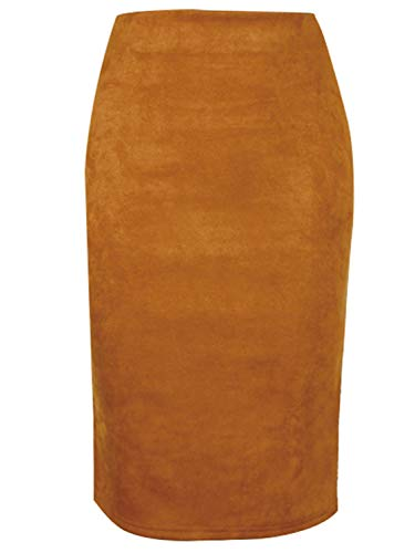 PERSUN Women's Suede Knee Length Pencil Skirts Slim Fit Business Skirt