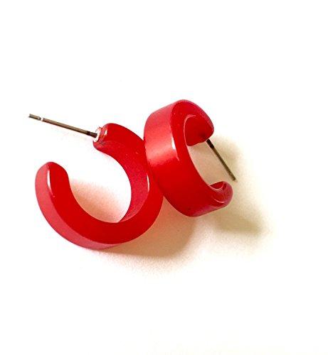 Cherry Red Tiny Moonglow Hugger Hoops | vintage lucite hoop earrings