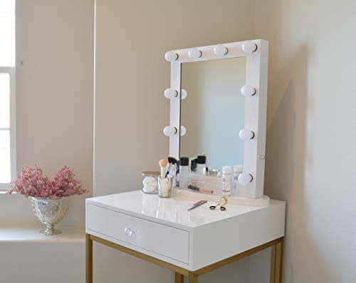 Com Glamstation Makeup Vanity Table With Mirror And Led Lights Gloss White  Gold Beauty