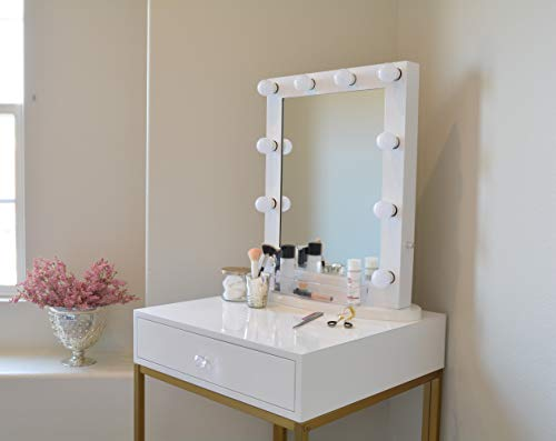 GlamStation Makeup Vanity | Table with Mirror and LED Lights | Gloss White and Gold Review