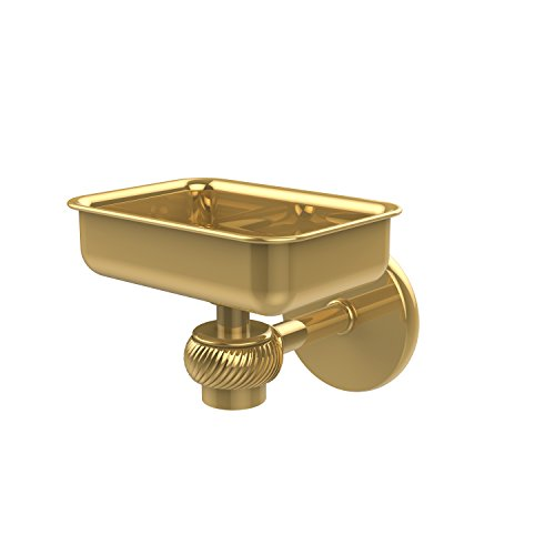 (Allied Brass 7132T-PB Satellite Orbit One Wall Mounted Soap Dish with Twisted Accents, Polished Brass)
