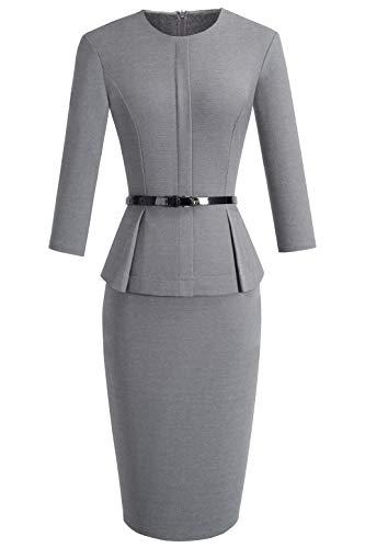 VELJIE Women's Peplum Wear to Work Business Party Bodycon One-Piece Belted Office Dress (Gray,6)