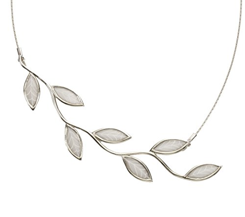 Adina Necklace Sterling Silver (Adina Plastelina Sterling Silver Olive Leaf Pendant Necklace with Pure Pearl Color Pattern, 16.5