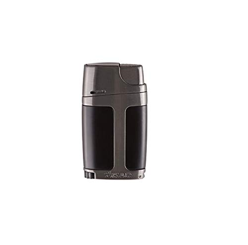 - Xikar ELX Double Jet Flame Lighter, Ergonomic Design, with Cigar Punch, Charcoal