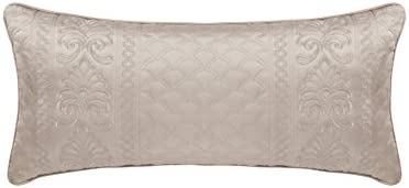 Five Queens Court Zarah Satin Damask Embroidered Boudoir Throw Pillow, Taupe