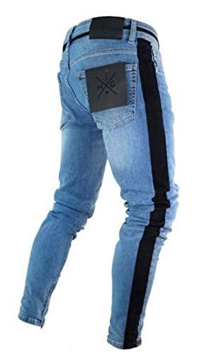 Denim Ajustados Hombres Mezclilla Rotos Flacos Los De Jeans Battercake Dunkelblau1 Casuales Moda Cómodo Pantalones Diseño apwnxTnE