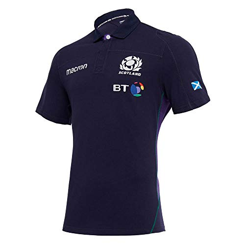 Macron 2018-2019 Scotland Home SS Cotton Rugby Football Soccer T-Shirt Jersey ()
