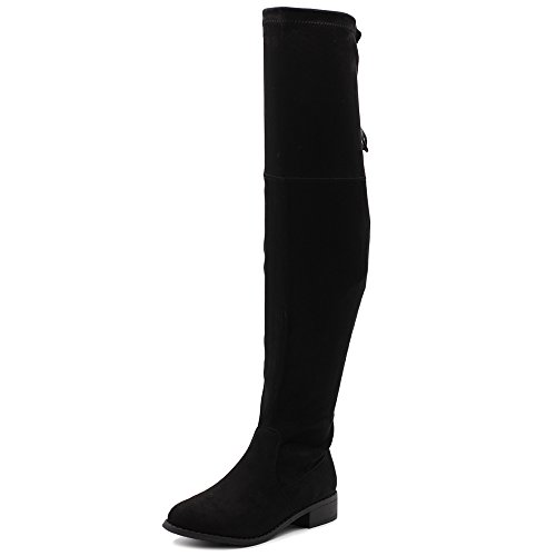 Ollio Women Shoe Adjustable Drawstring Stretch Faux Suede Over The Knee Zip Up Long Boots TWB08(8.5 B(M) US, Black) (Suede Over The Knee Boots)