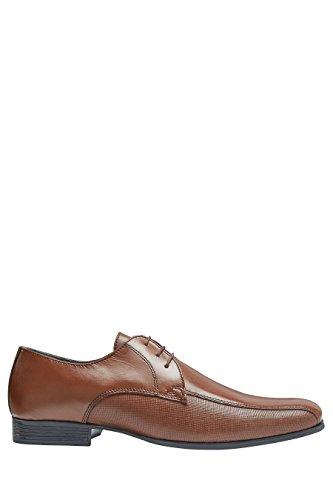 next Hombre Zapatos De Cordones Paneles Texturizados De Piel Estilo Formal Ejecutivo Bronceado