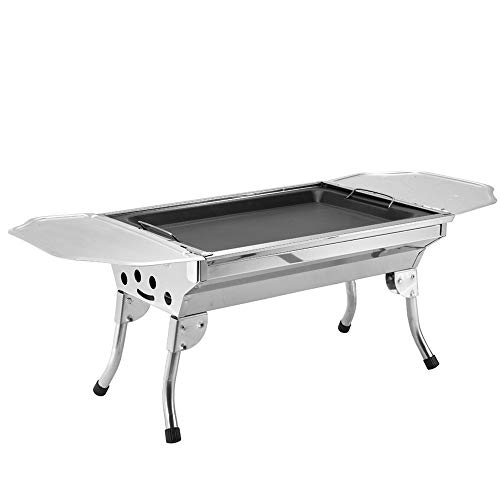 Charcoal Barbecue Grill, Portable Stainless Steel BBQ Grills Foldable Charcoal Grill for Outdoor Camping Picnics Garden Cooking Vegetables Burgers Fish Shrimp Steaks