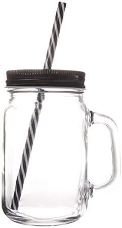 Pixnor - Vasos con asas y pajitas portátil de cristal para bebida, bebidas y bebidas (500 ml), color negro
