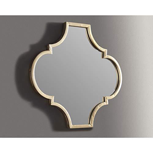 Antique Gold Quatrefoil Mirror Morocan Geo Framed Glam Wall Decor Geometric Design - Mirrors Bathroom Morrocan For