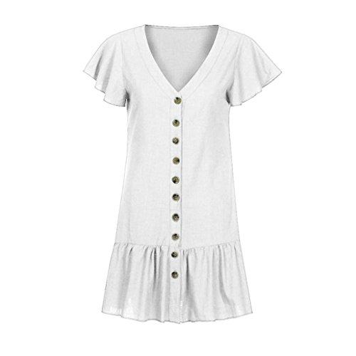 KIMODO Flare Button Mini Casual Boho White Sundress Women's Maxi Sleeve V Neck Dress pOqcRgw8rp