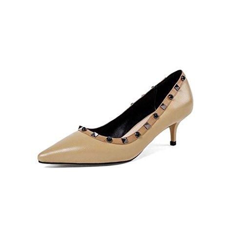 37 Tamaño 39 para Negro de Zapatos con Tacón Alto Remaches Beige Color Tacón Alto Individuales Mujeres Beige Bomba 34 Zapatos Talla con qwB1wx