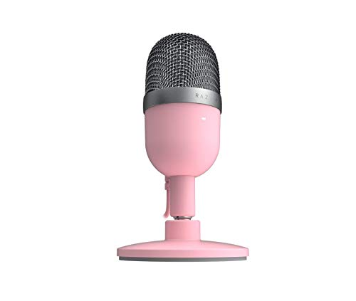 Razer Seiren Mini Usb Streaming Microphone Precise Supercardioid Pickup Pattern Professional Recording Quality Ultra Compact Build Heavy Duty Tilting Stand Shock Resistant Quartz Pink