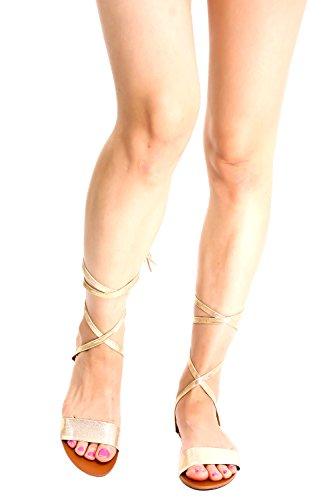 Lolli Couture Per Sempre Link Ecopelle Multi Strap Look Posteriore Cerniera Open Toe Style Sandali Gladiatore Alti Champange-aloha-01