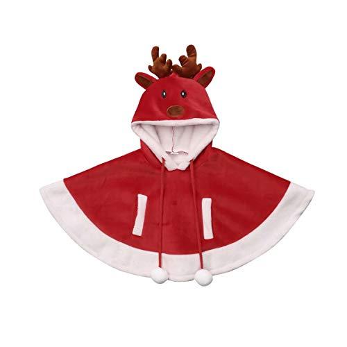 Seyurigaoka Christmas Outfit Kids Toddler Baby Girl Reindeer Hooded Fleece Cape Cloak Poncho Warm Coat -