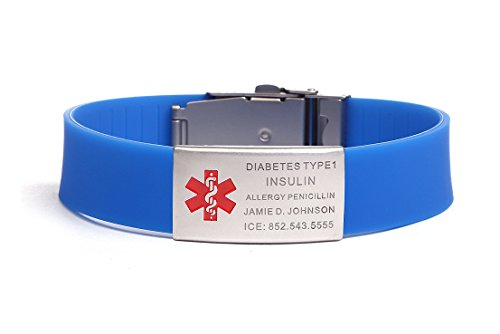 Free Engraving Blue Silicone Medical Alert ID Bracelets with Stainless Steel ID Tag,Adjustable Length: 5 inches -9.4 inches