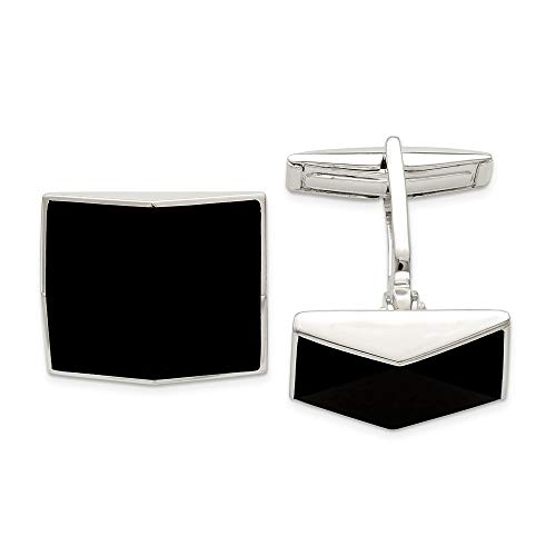 925 Sterling Silver Black Onyx Cuff Links Mens Cufflinks Link Man Fine Jewelry Gift For Dad Mens For Him