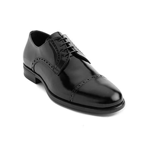 GIORGIO ARMANI Collezioni Men's Leather Derby Brogue Oxford Dress Shoes Black