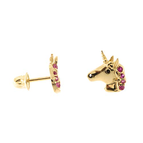 14k Yellow Gold Simulated Ruby Unicorn Safety Screwback Stud Earrings - Yellow Unicorn Gold 14k