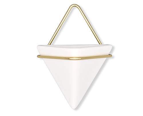 4″H Triangle Ceramic Air Planter Pot Wall Hanging Decor Container,Great for Succulent Cactus Plant Holder Pot Home Decor,Gold