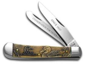 Case Antique Bone Ducks Unlimited Trapper Pocket Knife