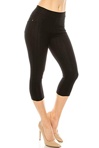 ShyCloset Basic Skinny Jeggings Pants - Skinny Slim Fit Jean Stretch Leggings (Regular/Plus Size) (ONE, Capri - Black) ()