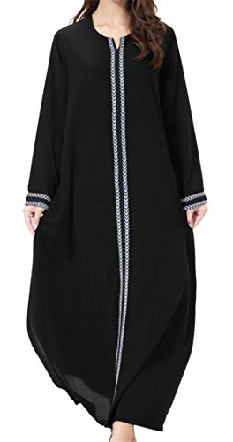 Cromoncent Women's Long Sleeve Muslim Abaya Saudi Arabia Elegance Robe Long Dress Grey M