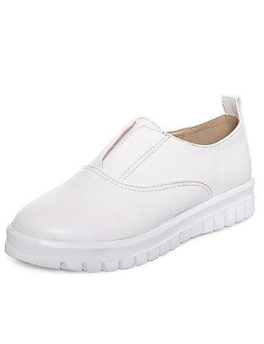 Semicuero Zapatos Bajo Redonda 5 Zq us6 Eu37 Cn37 Casual us6 Tacón 5 De blanco Punta Mocasines 5 Uk4 Mujer White 5 Trabajo Y Vestido Oficina 7 7 Silver Cerrada Eu 6wIAq