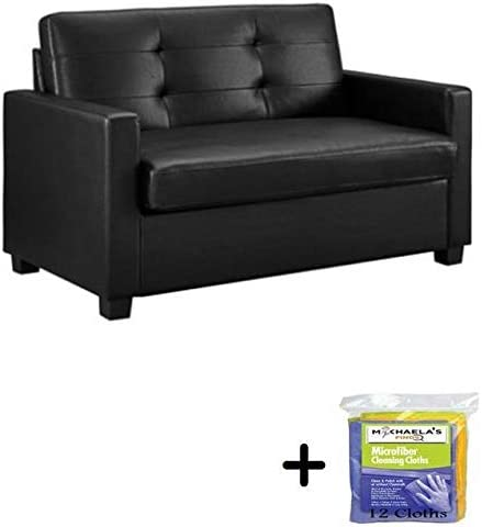 Mainstay Sofa Sleeper with Memory Foam Mattress | No-Tool Easy Assembly  (Twin, Black Faux Leather)