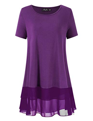 AMZ PLUS Women's Plus Size Flowy Long Tops Chiffon Splicing Loose Blouse Tunic Dress Shirt (XL(14Plus), Eggplant with Short Sleeve)