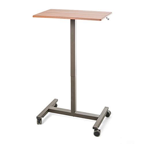 Seville Classics AIRLIFT 24.5'' Pneumatic Height Adjustable Sit-Stand Mobile Laptop Computer Desk Cart (29.3'' to. 43.5'' H), Maple by Seville Classics (Image #5)