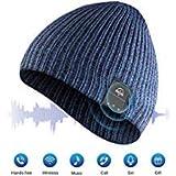 AMYYMA Wireless Beanie Music Hat, Winter Outdoor Sport Knit Cap with HD Stereo Headset Earphone Speaker Siri Voice Mic for Man Women (Blue)