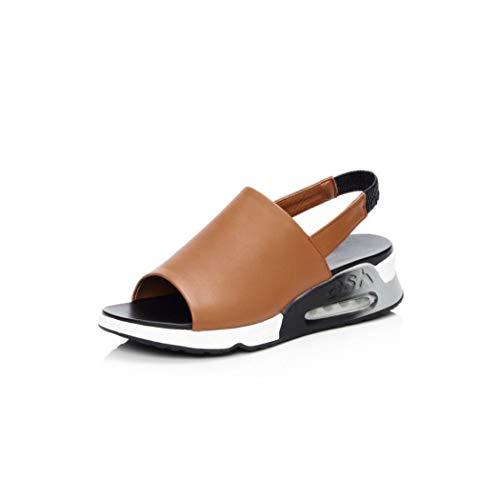 Women Flats Sandals Genuine Leather Open Toe Platform Women Sandals,Brown,8