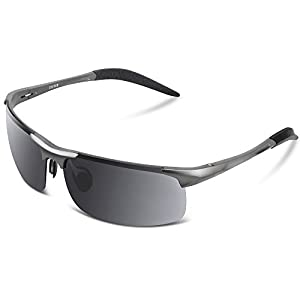 COSVER Men's Sports Style Polarized Sunglasses for Men Driving Cycling Running Fishing Golf Unbreakable Frame Metal Driver Glasses (Gray)