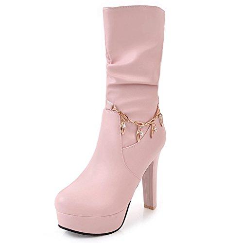 DoraTasia Women's High Heel Platform Glitter Metal Chains Mid Calf Boots Pink MfYamRu9m
