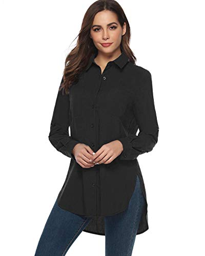 Sleeve Long Opaque - Hawiton Womens Basic Work Button Down Shirt Long Sleeve Top Blouse with Stretch