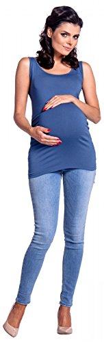 Senza Scollo Maniche Zeta Premaman Jeans Rotondo Profondo Top Donna Ville 792c Blu xxtTX6