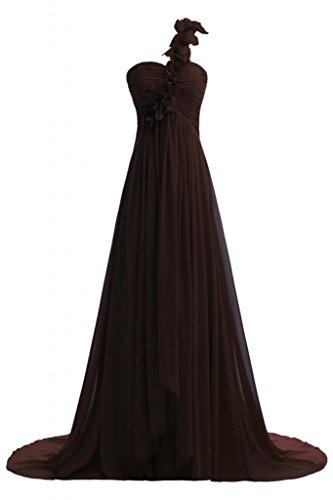 Vestito da in spalla lungo sera Fashion A Chiffon una Chocolate Line Sunvary qTwf0Bz