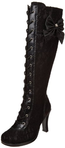 Demonia By Pleaser Mujer's Glam-240 Lace-up Bota Black Pu-black Lace Overlay