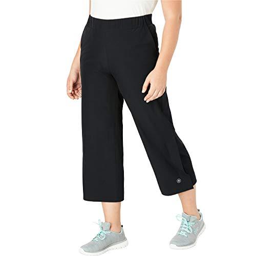 Women's Plus Size Stretch Woven Cropped Wide Leg Pant - Black, 28 ()