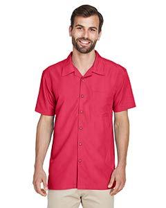 (Harriton Men's Barbados Textured Camp Shirt, Parrot Red, XX-Large)