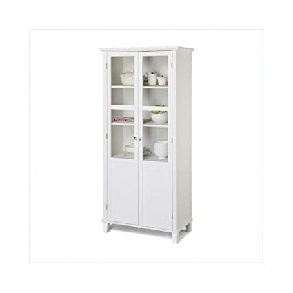 Amazon Kitchen Pantry Cabinet 69 Inch White 2 Door Glass
