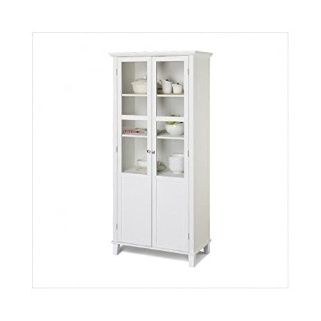 kitchen pantry cabinet 69 inch white 2 door glass storage unit amazon com  kitchen pantry cabinet 69 inch white 2 door glass      rh   amazon com