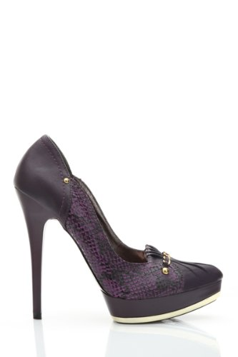 Damen Falte Kettendetail Mock Croc Schuhe Flieder Grosse 2 1 2