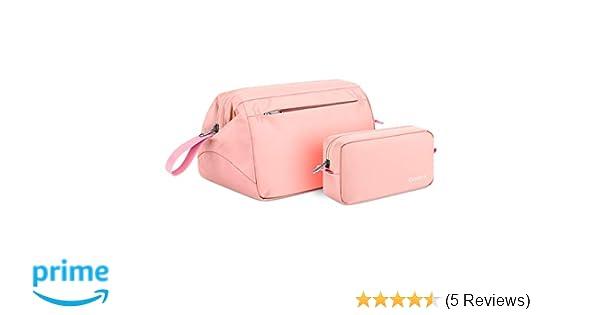 31be9d4eb20e Gonex Travel Toiletry Bag, Hanging Cosmetic Makeup Organizer Bags, 2pcs  Portable Water Repellent Dopp Kit for Men Women Pink